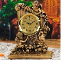 High-class european-style resin home decoration lifestyle furnishing articles creative angel harp clock clock sitting room 8016