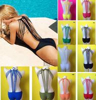 2015 latest tankini Sexy Cross line bikini Piece spa swimsuit strappy monokini swimwear women 12 colors SML biquini