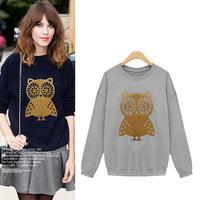 2015 Fashion Winter Spring  Women Long Sleeve Owl Print O-neck Casual Loose Cotton Sweatshirts