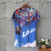 2015 New Arrival Floral T-shirt O-neck Casual Regular Print Regular Natural Color T-shirts Blusas Femininas 20 Color
