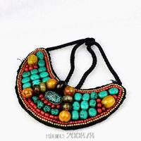 TNL170  Tibetan T-fashion big statement pendant Necklace,Nepal colorful stone beaded sewed Pendants Amazing 2015 Spring New