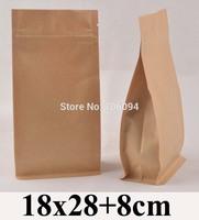 18*28+8cm Flat bottom stand up ziplock kraft bag  7.1''*11'' bellow zipper kraft bag coffee tea nut kraft paper bag,80pcs/lot
