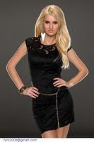 dear-lover roupas femininas vestido renda  curto 2015 Black Floral Overlay Mini Bodycon Dress Lace LC21809