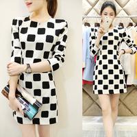 2015 spring black and white checks one-piece dress elegant slim wrist-length sleeve basic ol basic  female
