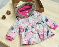 2015 new brand children girl cotton printed cotton warm hooded Ribbon Print cotton jacket with high collar plus velvet jacket