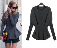 Europe and America 2015 spring autumn fashion plus size women's Falbala knit slim sweater long sleeve shirt size XL-5XL.