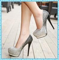 platform heels women party shoes paillette silver heels ladies shoes woman girls pumps women shoes high heel wedding shoes C907