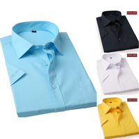 2015 Summer Solid Men Dress Shirt slim fit Short Sleeve Brand Casual Male Social Shirts Business man shirts drop shipping