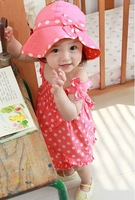 2015 New Baby Girls Vestidos 3pcs Red Dot Summer Clothes Set Dress+Pants+Hat Kids Clothing Sets For Age 0-48M b9 SV016134