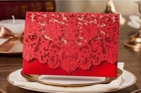 High Quality 185*127mm Embossment Wedding Invitation Card Red / White / Khaki , With Envelopes, Inner Paper And Seals