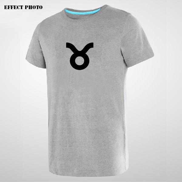 2015 Fashion Zodiac Sign Taurus Symbol Printed Men T-shirt Grey Bo Gray Vogue Clothes Novelty Hot Sale Tee Paris London(China (Mainland))