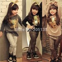 2014 Fashion baby girls clothing set Children kids suits cartoon Tiger T shirt+Leopard pants Long sleeve coat