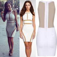 Women's dress party evening elegant zipper stitching bandage dress summer women clothing SC039 S M L plus size free shipping