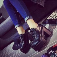 Boots 2015 spring high-heeled shoes platform thick heel vintage british style platform single shoes women's platform shoes