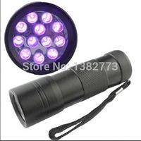 Cheaper 12 LED 395nm-400NM UV Ultra Violet Lamp Torch Flashlight for Anti-fake uv Flashlight (3xAAA battery)