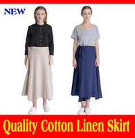 2015 Special Offer Cotton New Original Women Spring Summer Skirts Tether Health Linen Skirt For Stacking Fold Design Long Womens