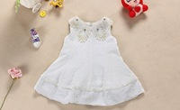 Free shipping 2015 new Sleeveless Crochet Pearls & crystal collar Baby girls summer lace dress Princess summer lace tutu dress
