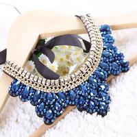 Free shipping new fashion jewelry Korea glass crystal false collar false collar sweater chain necklace