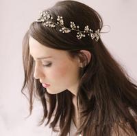 Pearl Crystal Gold Wedding Headband Hair Accessories Bridal Headwear Hair Jewelry Rhinestone Head Chain Headpiece WIGO0410
