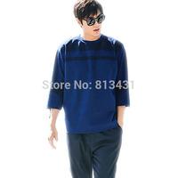 2014 New women man fashion Celebrity blue striped pullovers 3/4 sleeve sweatshirt Loose T-shirt Casual m l xl