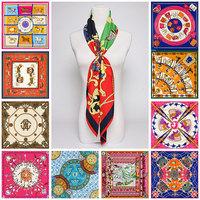 100x100cm Twill Silk Scarf Big Size Fashion Brand Silk Polyester Blend Square Scarves 2015 High Quality Cheap Women Hijab Shawl