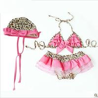 2015 Summer Girl's Swimwear Pink Fashion Children Girls Swimsuit Leopard Cap+Girl's Swim Suit Children Swimwear Leopard Skirt