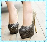 paillette pumps sexy High Heels Platform Shoes Pumps women stilettos Fashion Wedding shoes lady Pump women dress shoes gold C913