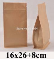 16*26+8cm Flat bottom stand up ziplock kraft bag  6.3''*10.2'' bellow zipper kraft bag coffee tea nut kraft paper bag,100pcs/lot