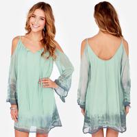 2015 Brand New fashion chiffon clothes women casual loose chiffon dress long sleeve summer beach dress green XS/S/M/L/XL/XXL