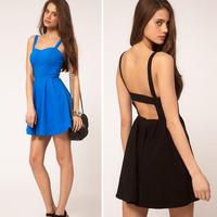 New 2015 Summer Women Sexy Spaghetti Strap Dresses Halter Backless Beach Dress Vestidos Mini Dress square collar neck