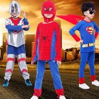 New Spring Autumn Children Clothing Sets Cartoon Spider-man & Superman Kids T-Shirt + Pants 2 pieces Boys Clothing Set