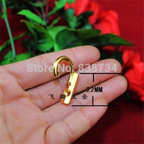 50pcs 8*22*21mm High Quality New Iron Hat Coat Clothes Towel Robe Bath Hooks modern Golden Wall Door Hanger Mini hook(China (Mainland))