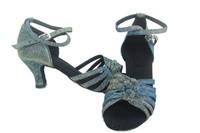 Fashion light blue&gray color satin Latin dance shoes women's Ballroom dancing shoes High heels Wedding Party Salsa dance shoes