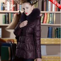 2014 quinquagenarian slim fashion fox fur with a short design hood down coat female xa-b1319