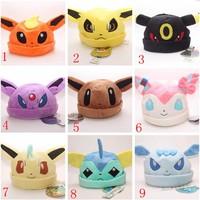 9 Styles Pokemon Pikachu Sylveon Umbreon Eevee Espeon Jolteon Vaporeon Flareon Glaceon Leafeon Hat Plush Adult Caps 90pcs EMS