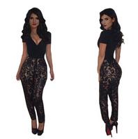 Women bodycon jumpsuit Lace hollow out full length Deep V-neck Party Evening Dresses bandage romper S M L KM092