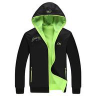 2015 Jacket Li Ning Mens Hoodies Spring Sport Jacket Men Hooded Outdoor Sportswear Cool Coats Big Size Free Shipping