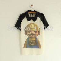spring of the new female han edition dolls lapel raglan sleeve short sleeve super Mario chiffon half sleeve 015 Mary