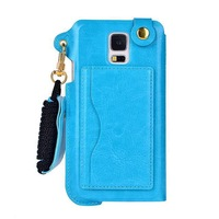 High quality Fashion Pu leather Lanyard holster stand case with card holder for Samsung galaxy S5 I9600