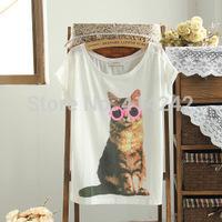 spring of the new women's clothing han edition recreational easing round collar short sleeve glasses cat joker  sleeve T-shirt