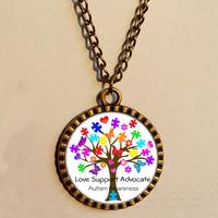 Wholesale 6$ Autism Awareness Puzzle Piece Heart Pendant  Necklace  Art Glass Fashion Jewelry Chain Gift Vintage lot
