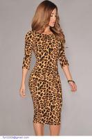 New Autumn roupas femininas Women Half Sleeve Midi Bodycon Leopard Print Vintage Vestidos Femininos 2015 Winter Pencil Dress