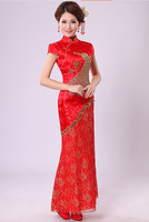 Bride qipao Spring, summer, new qipao Tail bud silk long cheongsam of cultivate one's morality