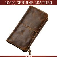 Top quality men wallets cowhide genuine leather wallet vintage men's card holder purse removable zipper pocket clutch wholesale