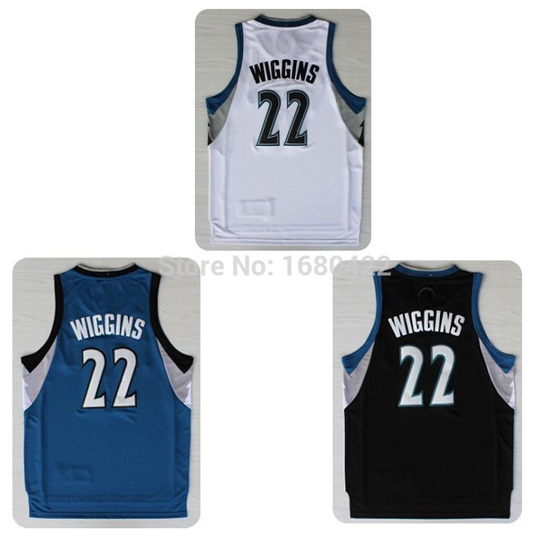 High Quality Minnesota 22 Andrew Wiggins Jersey White Blue Black REV30 Authentic Basketball Shirt Size:S-XXL Free Shipping(China (Mainland))