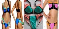 2015 Sexy Women Bandage Halter Triangle Bikini Push-up Zipper Swimsuit Swimwear Beach swimsuit S-L