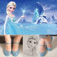 Snow Queen Princess Elsa Shoes,sapato meninas Children Elsa Shoe Cosplay,Ailsa Blue Crystal Hole Elsa Sandals Kids