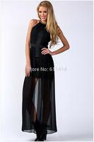 L057,Free shipping fashion women's wear sleeveless round collar off-the-shoulder sequins stitching net cloth cherrykeke dress