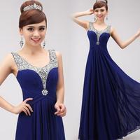 2015 new Double-shoulder long blue V neck crystal evening dress party slim chiffon formal dresses