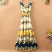 2015 summer new bohemian floral chiffon dress vest dress child long beach dress women vestidos